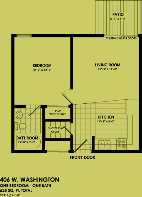 1 Bedroom 1 Bathroom Apartment for rent at 406 West Washington in Champaign, IL