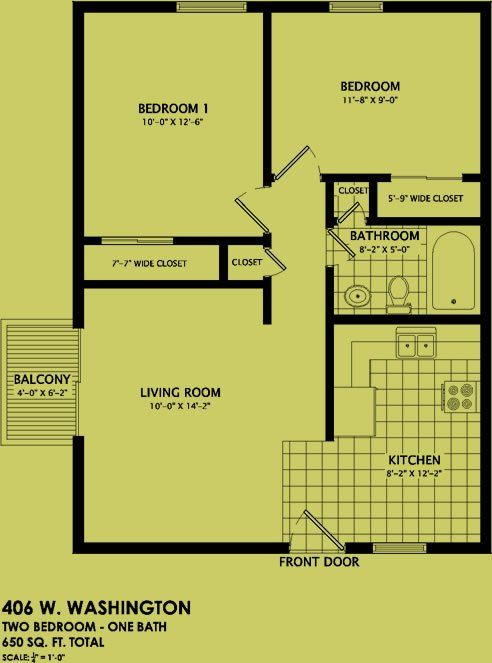 2 Bedrooms 1 Bathroom Apartment for rent at 406 West Washington in Champaign, IL