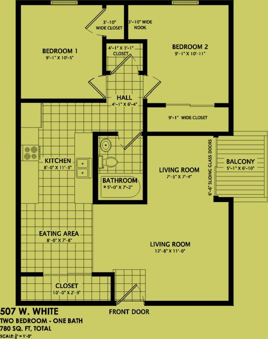 2 Bedrooms 1 Bathroom Apartment for rent at 507 West White Street in Champaign, IL