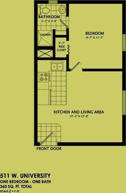 1 Bedroom 1 Bathroom Apartment for rent at 511 West University Avenue in Champaign, IL