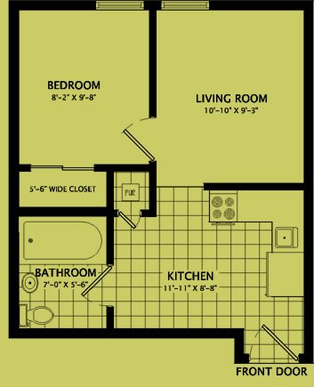 1 Bedroom 1 Bathroom Apartment for rent at 515 West Washington Street in Champaign, IL
