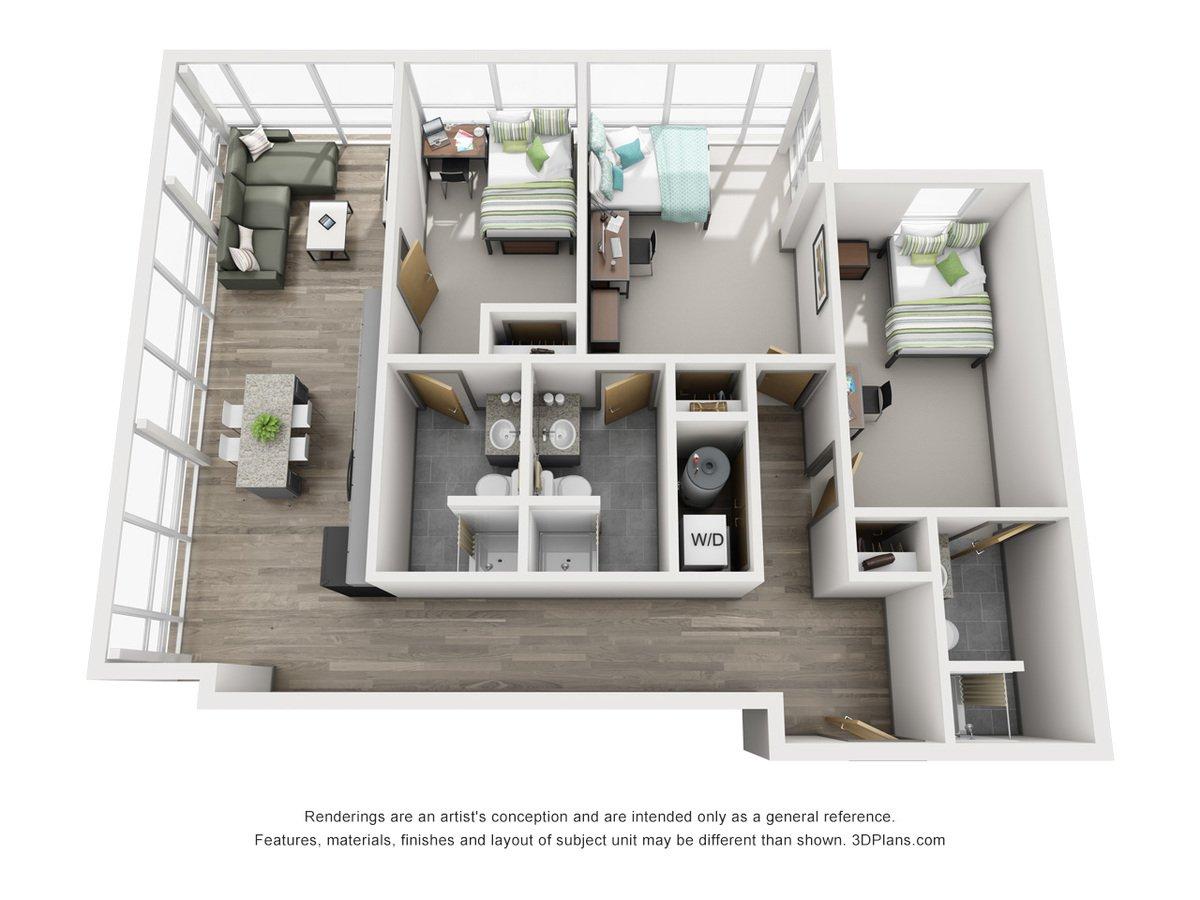 3 Bedrooms 3 Bathrooms Apartment for rent at 649 Cherry Street in Terre Haute, IN