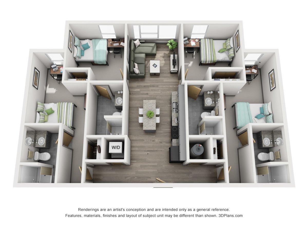 4 Bedrooms 4+ Bathrooms Apartment for rent at 649 Cherry Street in Terre Haute, IN