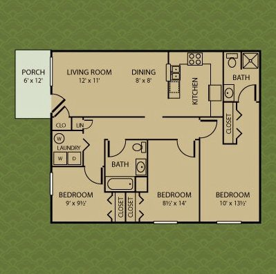 3 Bedrooms 2 Bathrooms Apartment for rent at Bradford Ridge Apartments in Bloomington, IN