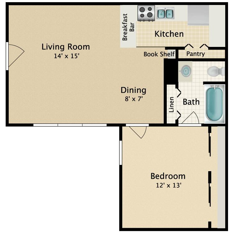 1 Bedroom 1 Bathroom Apartment for rent at Garden Park Apartments in Arlington, TX