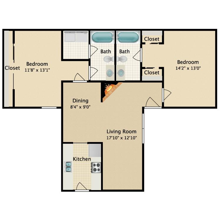2 Bedrooms 2 Bathrooms Apartment for rent at Garden Park Apartments in Arlington, TX