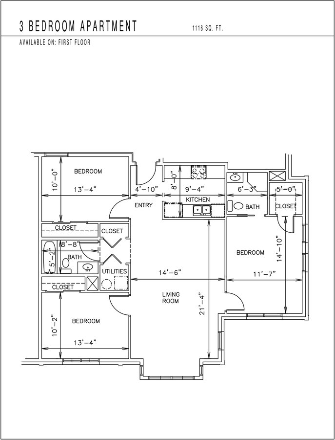 3 Bedrooms 2 Bathrooms Apartment for rent at Burnham Place Apartments in Bloomington, IN