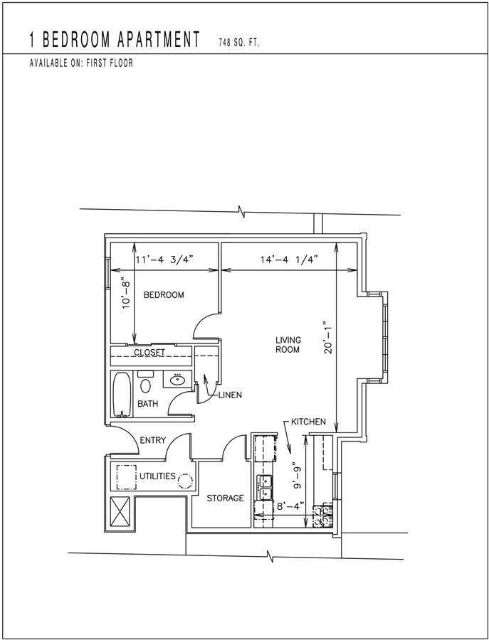 1 Bedroom 1 Bathroom Apartment for rent at Burnham Place Apartments in Bloomington, IN
