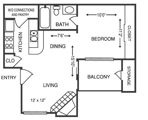 1 Bedroom 1 Bathroom Apartment for rent at The Trails Apartments in Arlington, TX