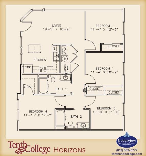 4 Bedrooms 2 Bathrooms Apartment for rent at Tenth & College Horizons in Bloomington, IN