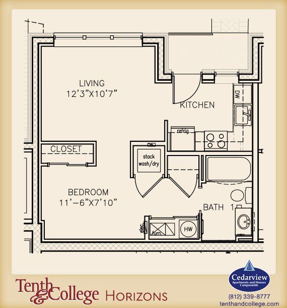 Studio 1 Bathroom Apartment for rent at Tenth & College Horizons in Bloomington, IN