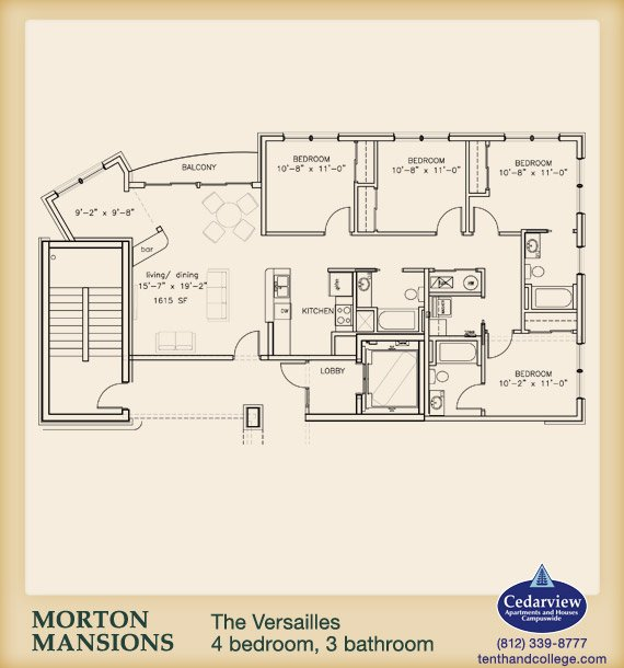 4 Bedrooms 3 Bathrooms Apartment for rent at Morton Mansions in Bloomington, IN