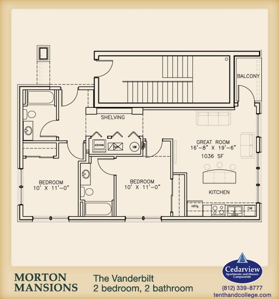 2 Bedrooms 2 Bathrooms Apartment for rent at Morton Mansions in Bloomington, IN
