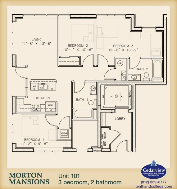 3 Bedrooms 2 Bathrooms Apartment for rent at Morton Mansions in Bloomington, IN