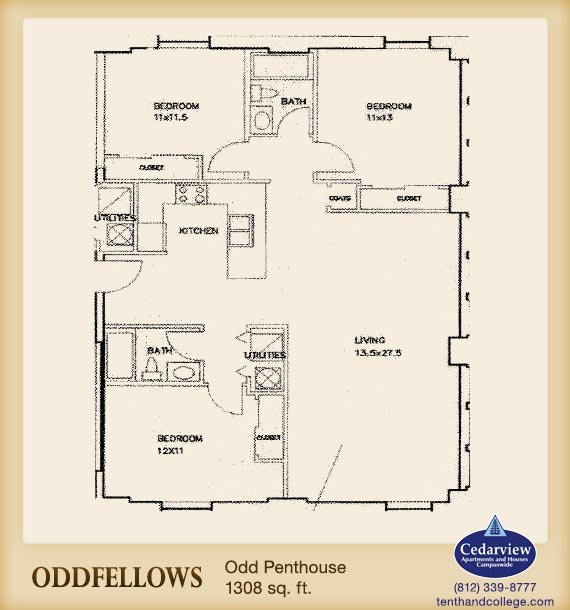 3 Bedrooms 2 Bathrooms Apartment for rent at Oddfellows Apartments in Bloomington, IN