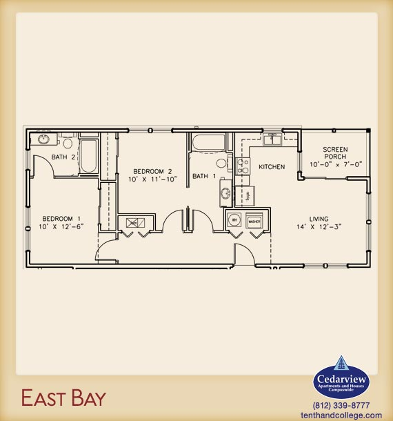 2 Bedrooms 2 Bathrooms Apartment for rent at East Bay 1 Apartments in Bloomington, IN