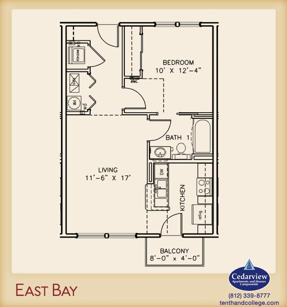 1 Bedroom 1 Bathroom Apartment for rent at East Bay 1 Apartments in Bloomington, IN