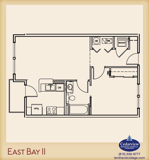 1 Bedroom 1 Bathroom Apartment for rent at East Bay 2 Apartments in Bloomington, IN