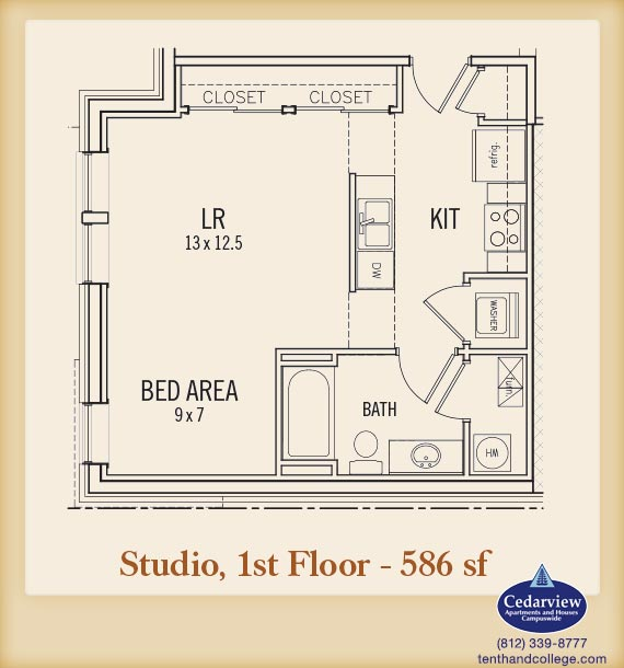 Studio 1 Bathroom Apartment for rent at Morton Grad in Bloomington, IN