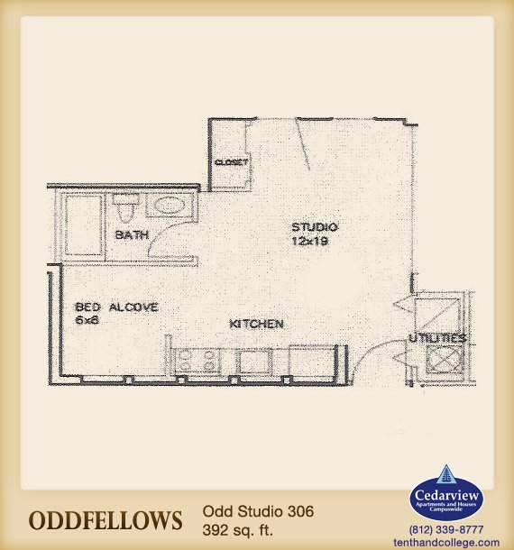 Studio 1 Bathroom Apartment for rent at Oddfellows Apartments in Bloomington, IN