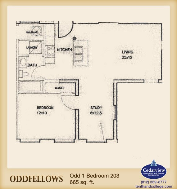 1 Bedroom 1 Bathroom Apartment for rent at Oddfellows Apartments in Bloomington, IN