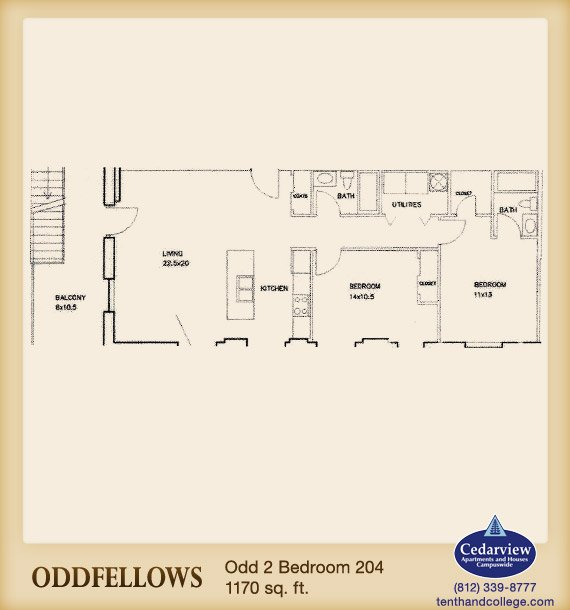 2 Bedrooms 2 Bathrooms Apartment for rent at Oddfellows Apartments in Bloomington, IN