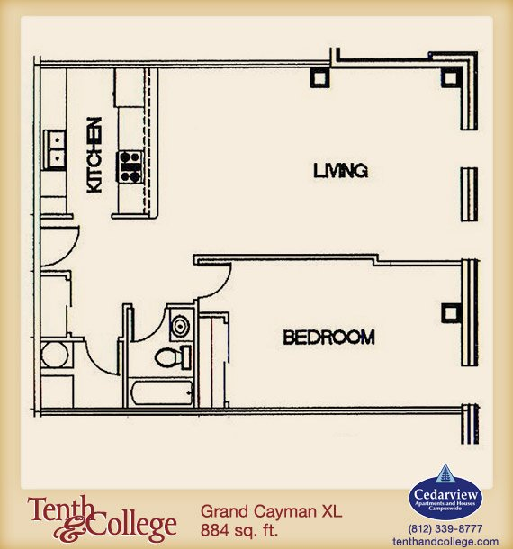 1 Bedroom 1 Bathroom Apartment for rent at Tenth & College in Bloomington, IN