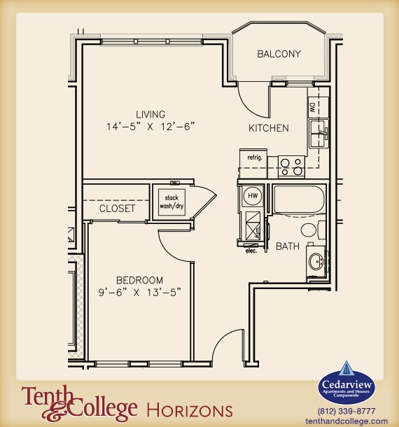 1 Bedroom 1 Bathroom Apartment for rent at Tenth & College Horizons in Bloomington, IN