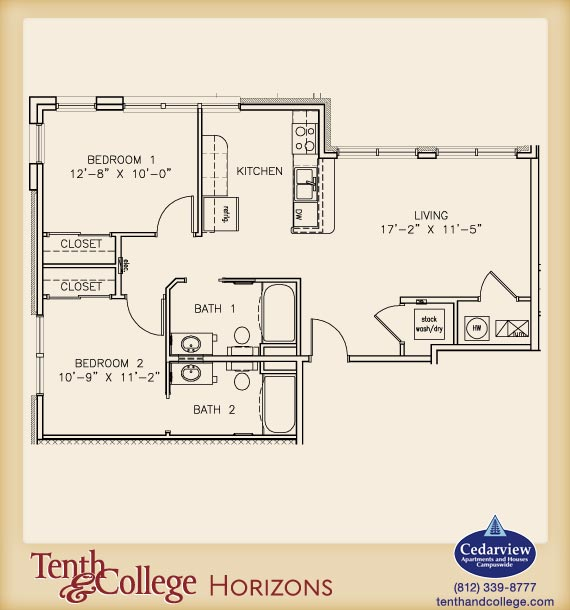 2 Bedrooms 2 Bathrooms Apartment for rent at Tenth & College Horizons in Bloomington, IN