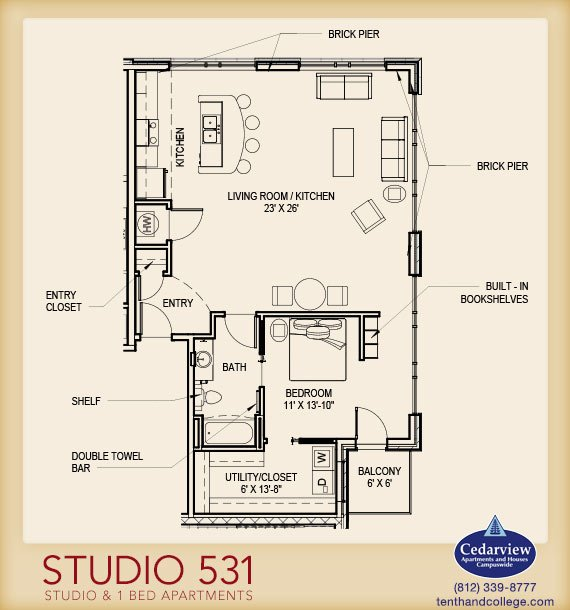 Studio 1 Bathroom Apartment for rent at Studio 531 in Bloomington, IN