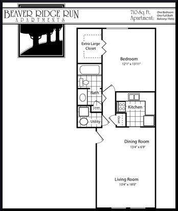 1 Bedroom 1 Bathroom Apartment for rent at Beaver Ridge Run in Kettering, OH