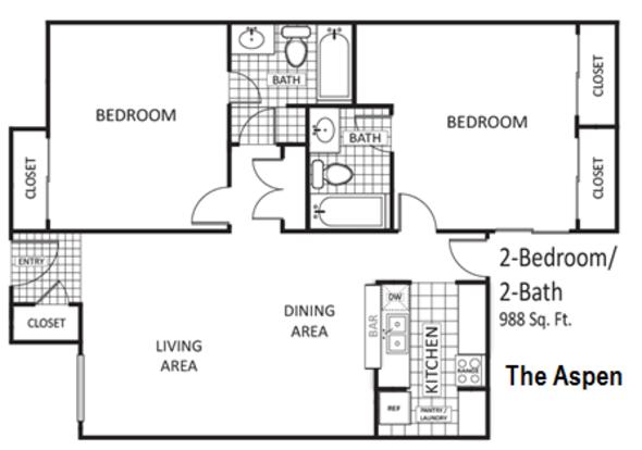 2 Bedrooms 2 Bathrooms Apartment for rent at The Arbors Of Arlington in Arlington, TX