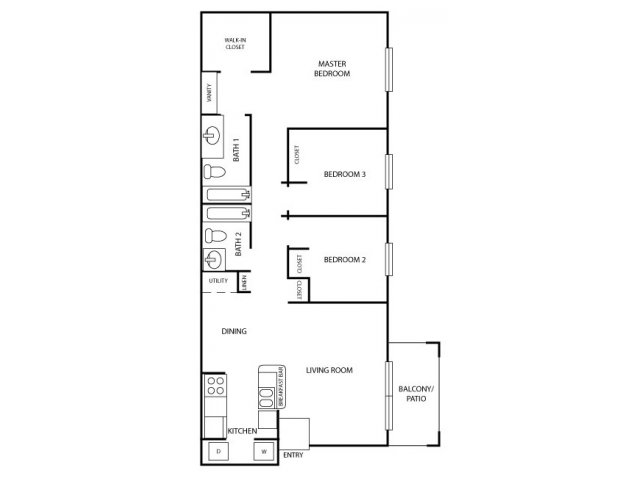 3 Bedrooms 2 Bathrooms Apartment for rent at Westfield Club Apartments in Lansing, MI