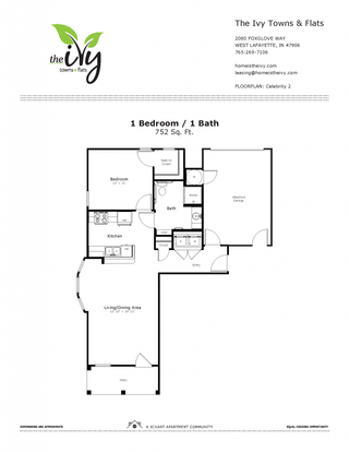 1 Bedroom 1 Bathroom Apartment for rent at The Ivy Towns + Flats in West Lafayette, IN