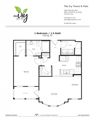 1 Bedroom 2 Bathrooms Apartment for rent at The Ivy Towns + Flats in West Lafayette, IN