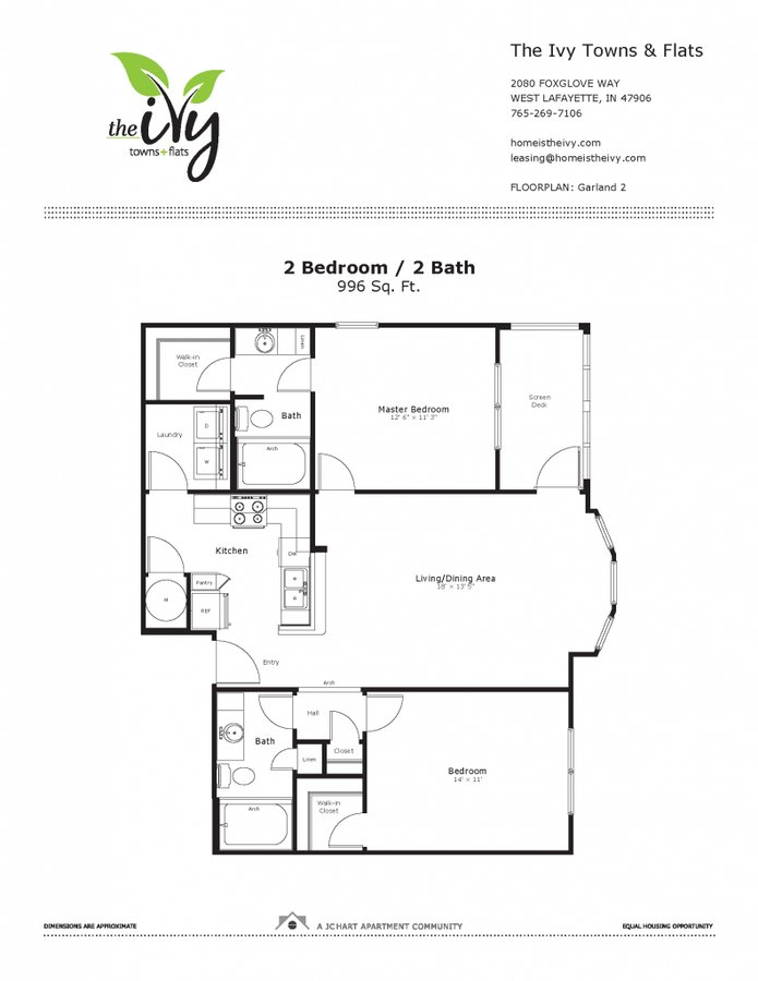 2 Bedrooms 2 Bathrooms Apartment for rent at The Ivy Towns + Flats in West Lafayette, IN