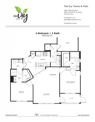 2 Bedrooms 3 Bathrooms Apartment for rent at The Ivy Towns + Flats in West Lafayette, IN