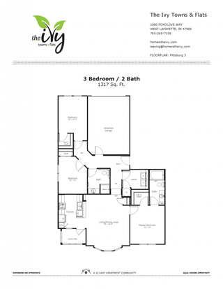 3 Bedrooms 2 Bathrooms Apartment for rent at The Ivy Towns + Flats in West Lafayette, IN