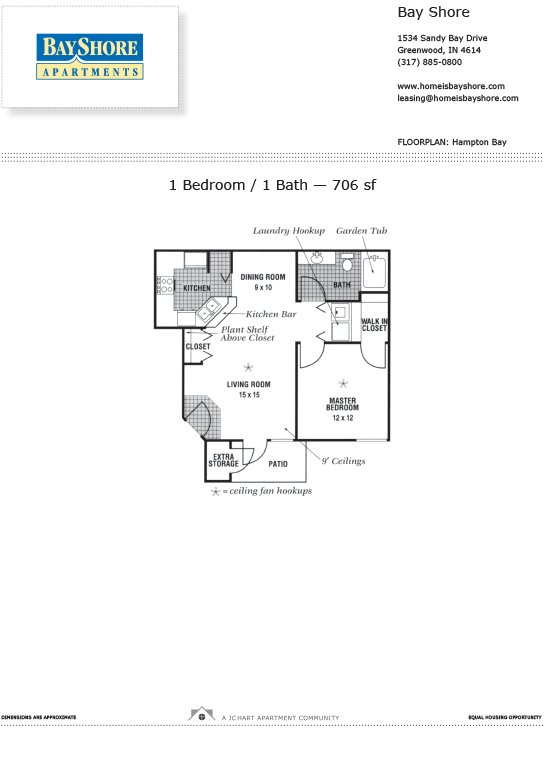 1 Bedroom 1 Bathroom Apartment for rent at Bayshore Apartments in Greenwood, IN