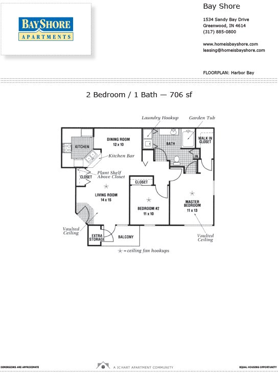 2 Bedrooms 1 Bathroom Apartment for rent at Bayshore Apartments in Greenwood, IN