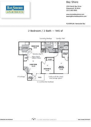 2 Bedrooms 2 Bathrooms Apartment for rent at Bayshore Apartments in Greenwood, IN