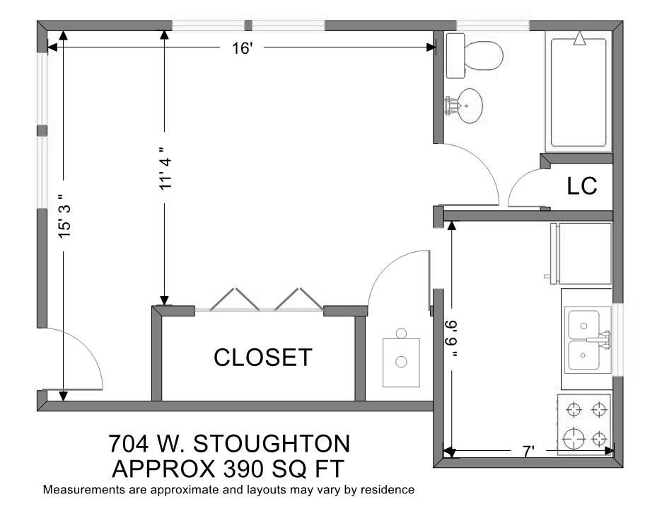 Studio 1 Bathroom Apartment for rent at Stoughton Place in Urbana, IL