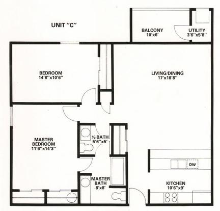 2 Bedrooms 1 Bathroom Apartment for rent at Fairfax Apartments in Lansing, MI