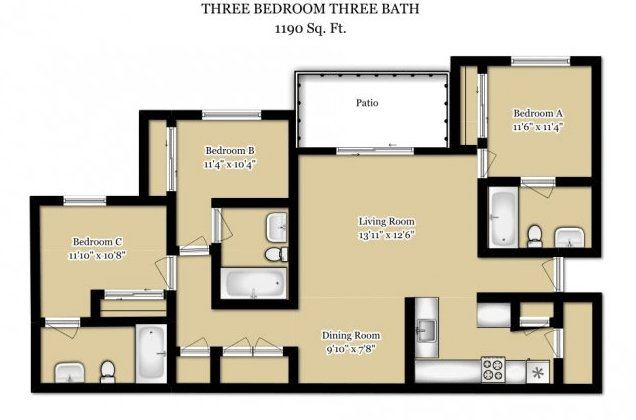3 Bedrooms 3 Bathrooms Apartment for rent at The Lodge At Purdue in West Lafayette, IN
