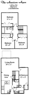 4 Bedrooms 2 Bathrooms Apartment for rent at Willow Ponds Townhomes in Lansing, MI
