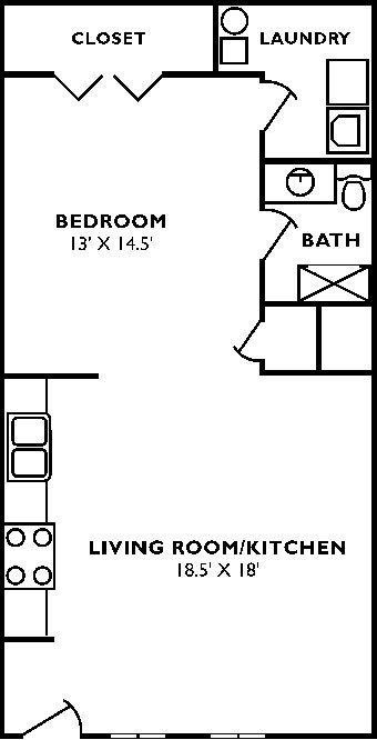 Studio 1 Bathroom Apartment for rent at Dunnhill Apartments in Bloomington, IN
