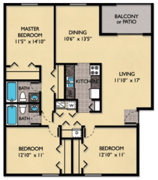 3 Bedrooms 2 Bathrooms Apartment for rent at Windmeadows Apartments in Gainesville, FL