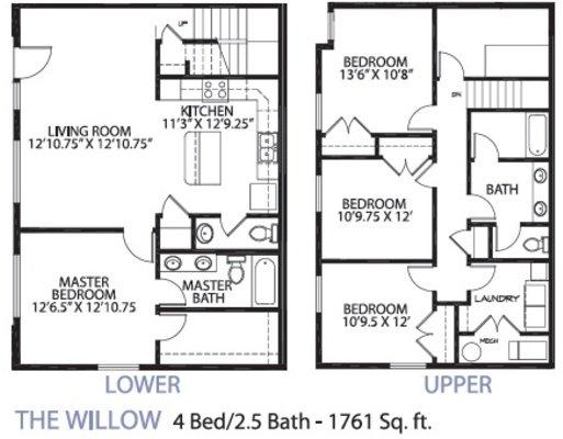4 Bedrooms 3 Bathrooms Apartment for rent at Glencoe Oaks in Ann Arbor, MI