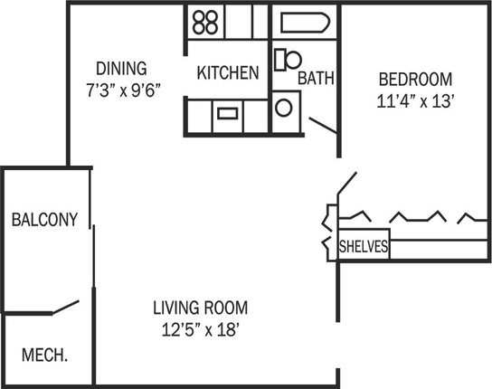 1 Bedroom 1 Bathroom Apartment for rent at Park Place Apartments in Ann Arbor, MI