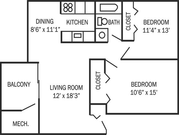 2 Bedrooms 1 Bathroom Apartment for rent at Park Place Apartments in Ann Arbor, MI
